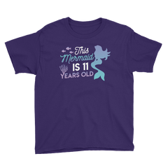 This Mermaid is 11 Years Old Birthday T-Shirt Purple / Youth XS