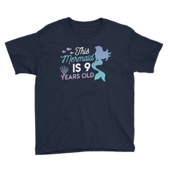This Mermaid is 9 Years Old Birthday T-Shirt Navy / Youth XS