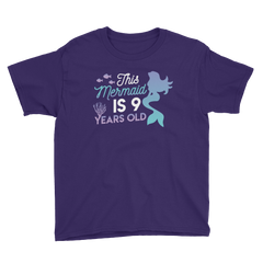This Mermaid is 9 Years Old Birthday T-Shirt Purple / Youth XS