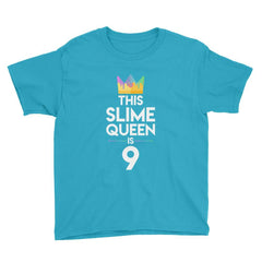 This Slime Queen is 9 Birthday T-Shirt Caribbean Blue / Youth XS
