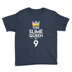 This Slime Queen is 9 Birthday T-Shirt Navy / Youth XS