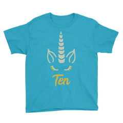 Unicorn Birthday Horn - Ten Birthday T-Shirt Caribbean Blue / Youth XS