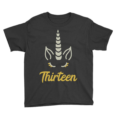 Unicorn Birthday Horn - Thirteen Birthday T-Shirt Black / Youth XS