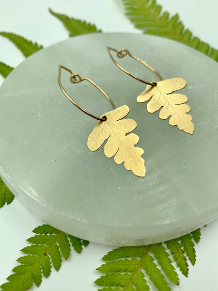 Brass Fern Hoops