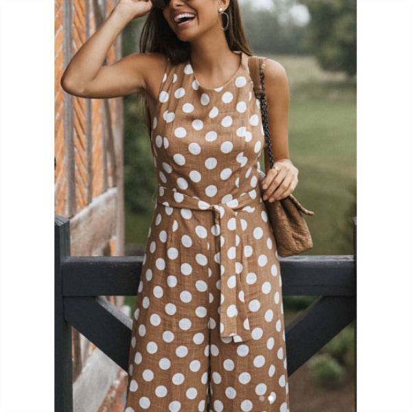 61c7f80b591 Casual Sleeveless Round Neck Wide Leg Polka Dot Jumpsuit