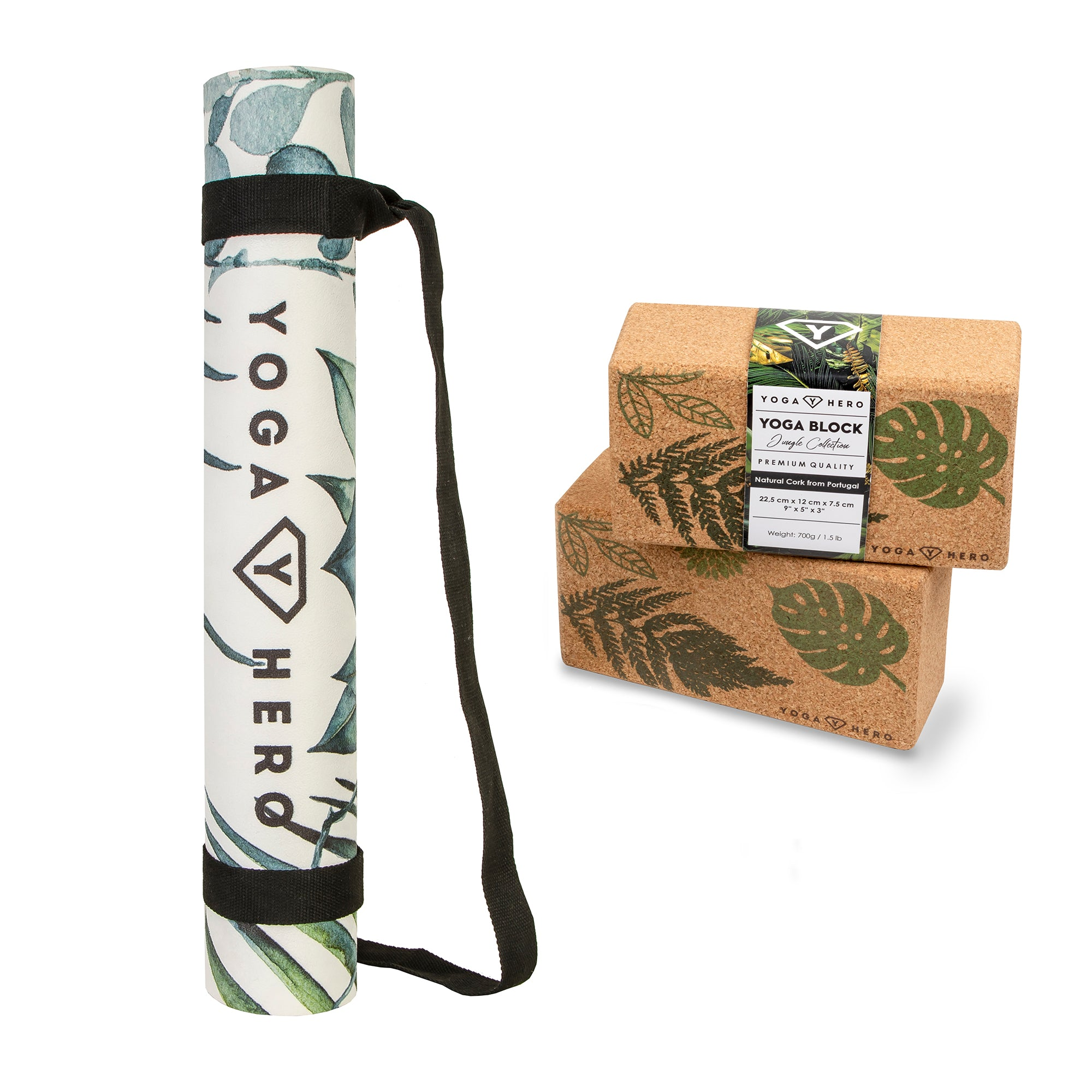 Ensemble Classique Jungle (Tapis de yoga + 2 blocs de yoga)