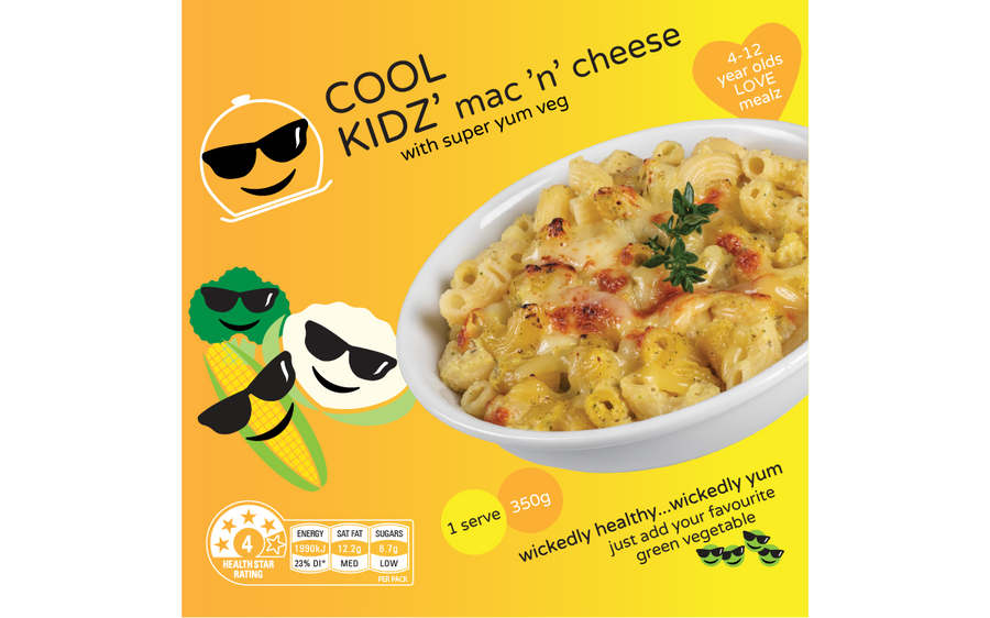 MAC' N' CHEESE; WITH SUPER YUM VEG