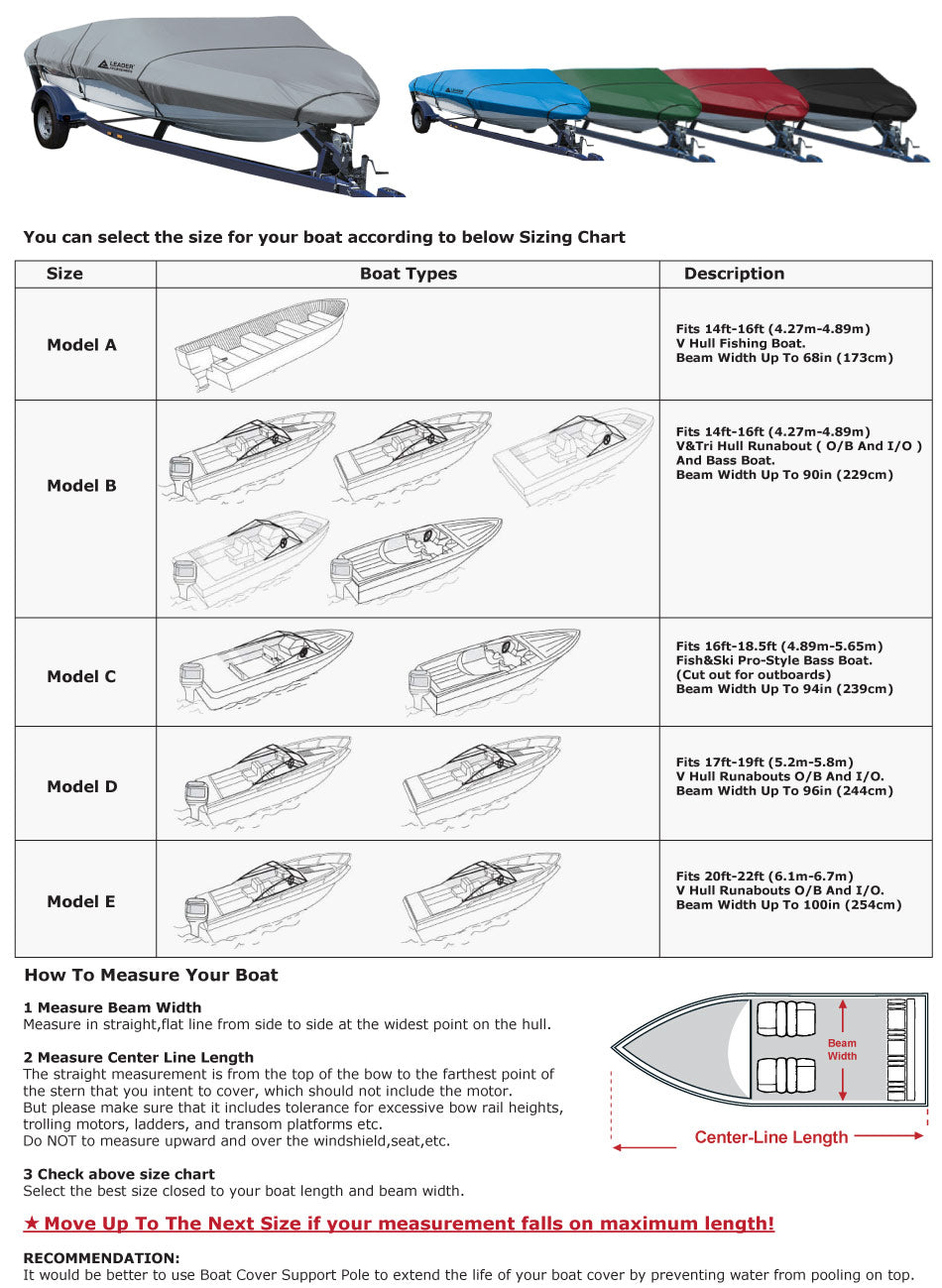 Leader Accessories Boat Covers size chart