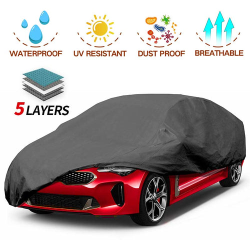 Sedan Car Cover 5 Layer Nonwovens 3 Different Sizes BLACK