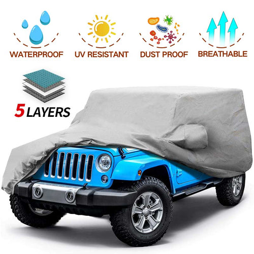 Jeep Car Cover 5 Layer Nonwovens 2 Different Sizes Fit Jeep Wrangler GREY