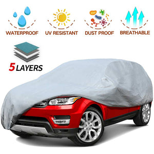 SUV Car Cover 5 Layer Nonwovens 3 Different Sizes GREY