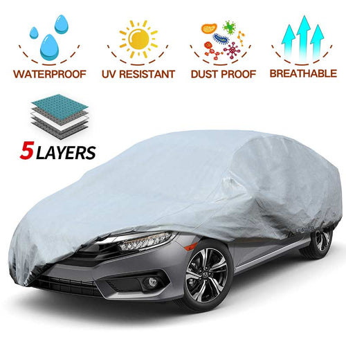 Sedan Car Cover 5 Layer Nonwovens 3 Different Sizes GREY