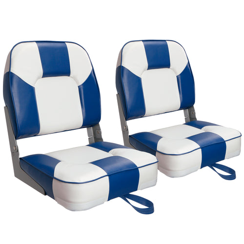 New Low Back Folding Boat Seats White/Blue (2 Seats)