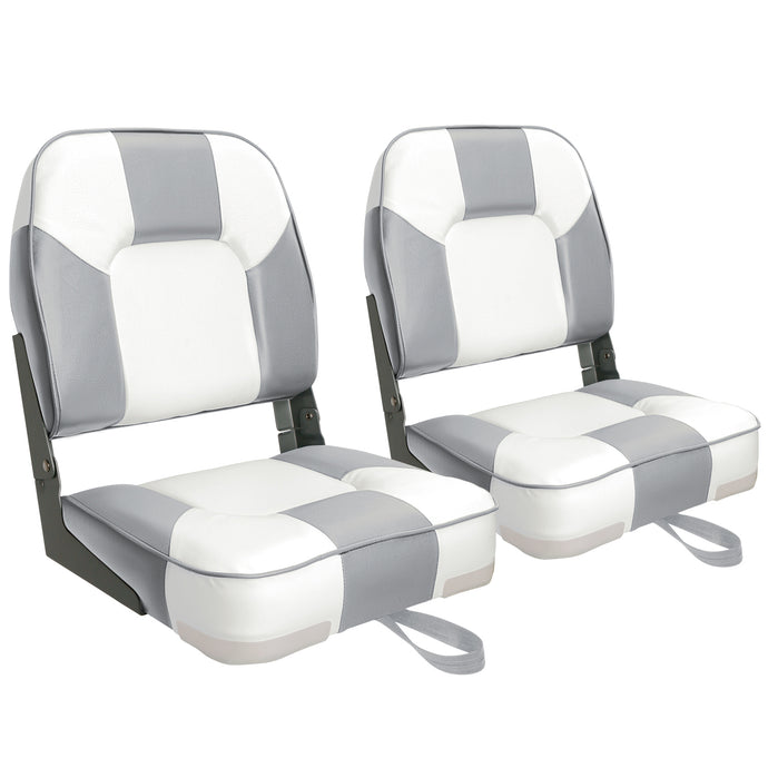 Deluxe Low Back Fold-Down Fishing Boat Seats White/Grey (2 Seats)