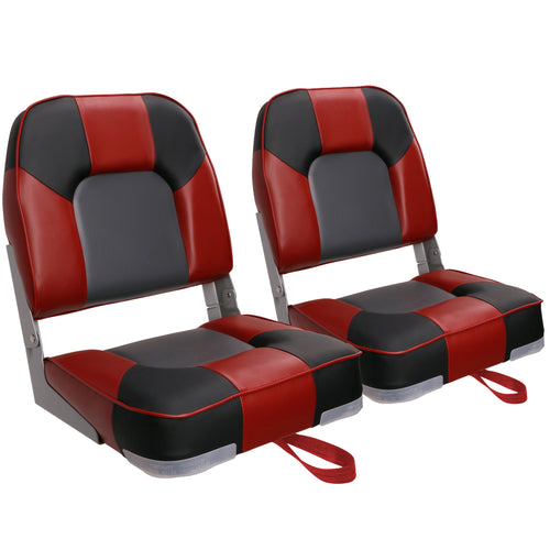 New Low Back Folding Boat Seats Red/Black/Charcoal (2 Seats)