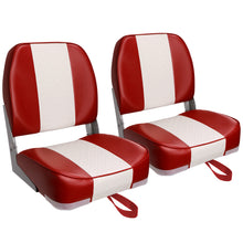 Load image into Gallery viewer, Deluxe Low Back Fold-Down Fishing Boat Seats White/Red (2 Seats)