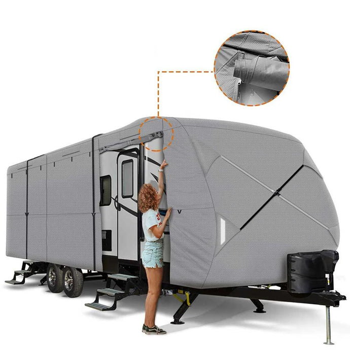 Travel Trailer RV Cover 230T Ripstop Diamond GRAY
