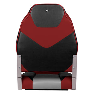 Deluxe High Back Fold-Down Fishing Boat Seats Red/Charcoal/Black (2 Seats)