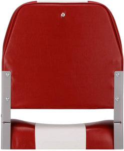 Deluxe Low Back Fold-Down Fishing Boat Seats White/Red (2 Seats)