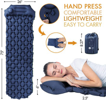 Load image into Gallery viewer, Camping Sleeping Pads with Pillow Inflatable Sleeping Mat