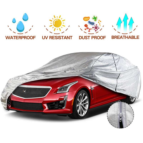 NEW Sedan Car Cover Aluminium Cotton with Door Zipper 3 Different Sizes GREY