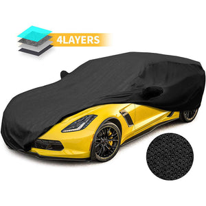Car Cover 4 Layer Waterproof with 2 Mirror Pocket Corvette Stingray C7 2014-2019 BLACK