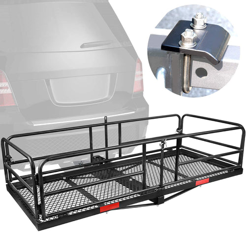 Hitch Mount Cargo Basket Folding Cargo Carrier With High Side