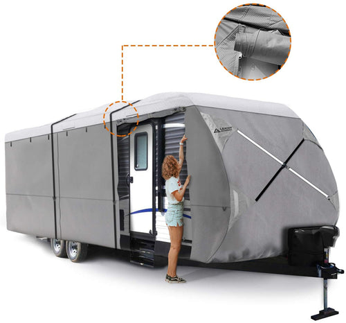 Travel Trailer RV Cover White Color Top GREY