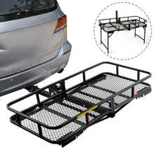 Load image into Gallery viewer, Hitch Mount Cargo Basket Folding Cargo Carrier With Stand Foldable