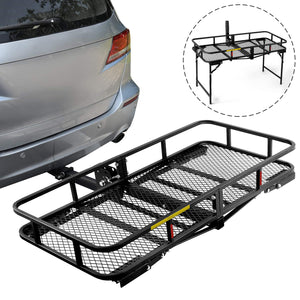 Hitch Mount Cargo Basket Folding Cargo Carrier With Stand Foldable