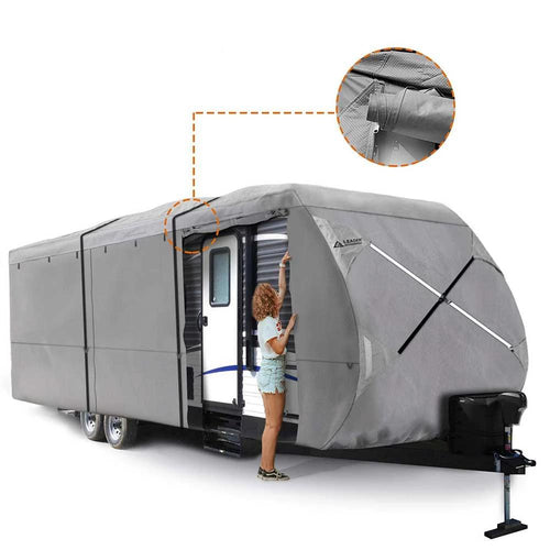 Travel Trailer RV Cover 300D Top Premium Fabric GRAY