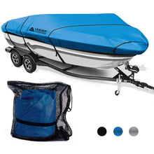 Load image into Gallery viewer, 300D Polyester Trailerable Runabout Boat Covers Navy Blue