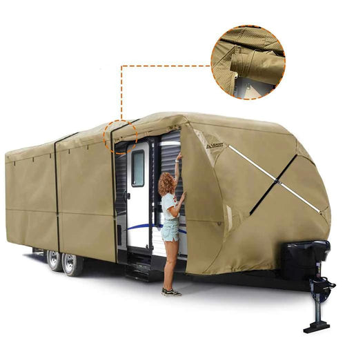 Travel Trailer RV Cover Premium 300D Upgrade TAN