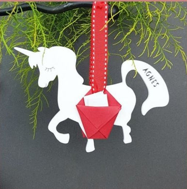 Personalised Unicorn Carrier Christmas Tree Bauble Decoration