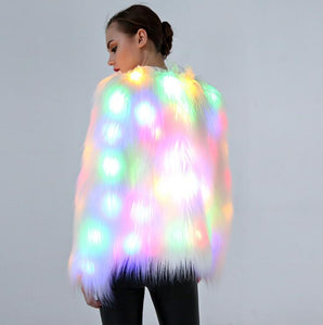 Faux Fur Glowing LED Rainbow Jacket