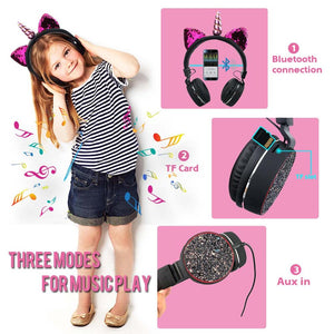 Bluetooth Unicorn Headphones in Pink or Black