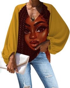 African Queen V-neck Long Sleeve Blouse 32