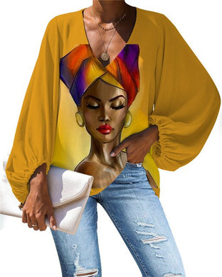 African Queen V-neck Long Sleeve Blouse 27