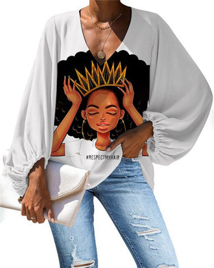 African Queen V-neck Long Sleeve Blouse 29