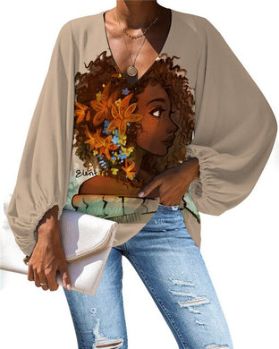 African Queen V-neck Long Sleeve Blouse 19