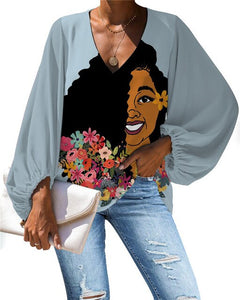 African Queen V-neck Long Sleeve Blouse 14