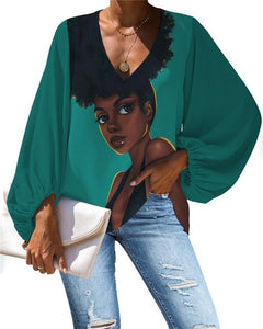 African Queen V-neck Long Sleeve Blouse 12