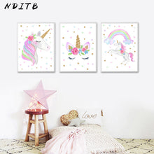 Load image into Gallery viewer, Sleeping Unicorn and Love Hearts Canvas Wall Art Print