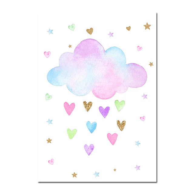 Cloud and Love Hearts Canvas Wall Art Print