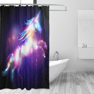 Colorful Unicorn Shower Curtain with 12 Hooks