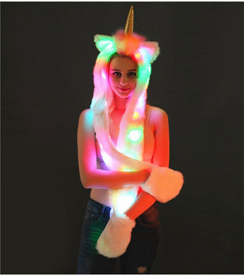 LED Faux Fur Unicorn Hat - Scarf With Pockets