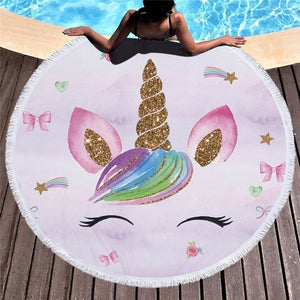 Unicorn Beach Towel With Tassels