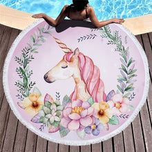 Load image into Gallery viewer, Unicorn Beach Towel With Tassels