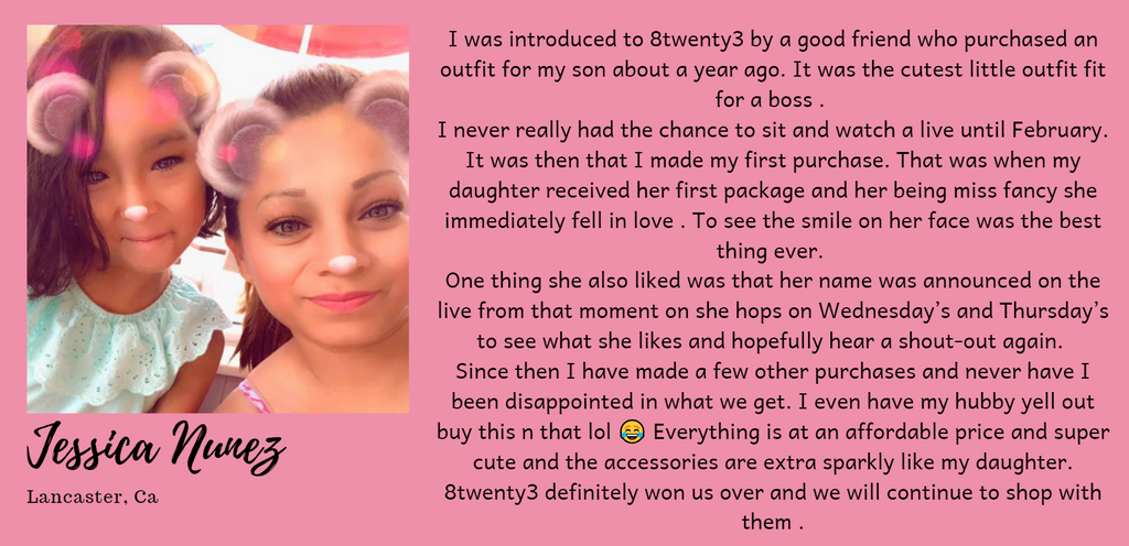 Customer testimonial, with photo of customer and child, positive review