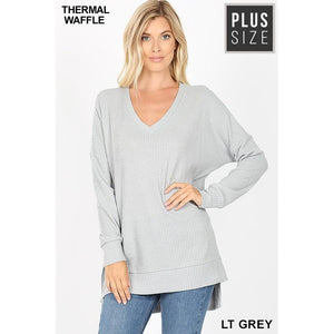 Light Grey V-Neck Waffle Sweater